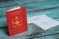 Red Passport Wedding Invitations to Discovery Bay, Jamaica