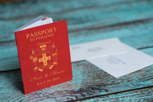 Red Passport standing with envelopes