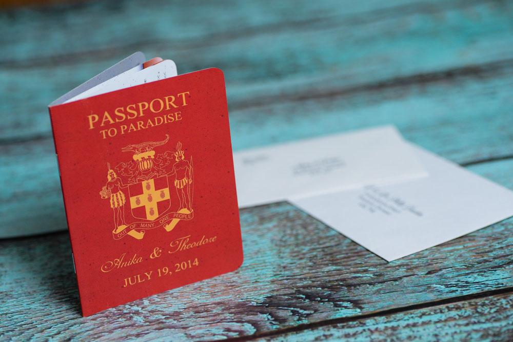 Red Passport Wedding Invitations to Discovery Bay, Jamaica ...