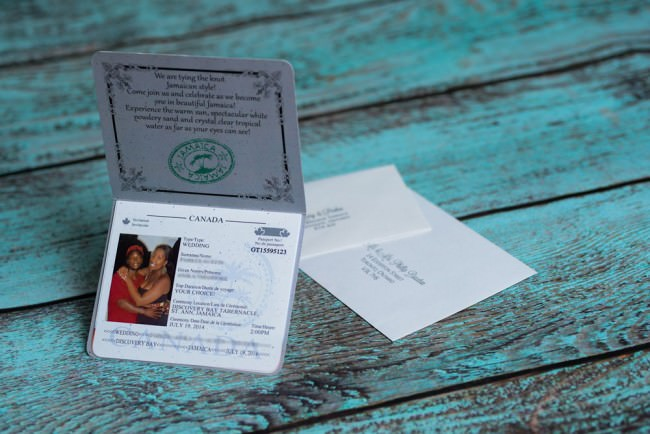 Passport wedding invitation opened