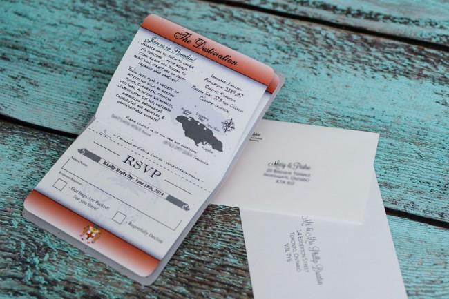 rsvp page passport wedding invitation