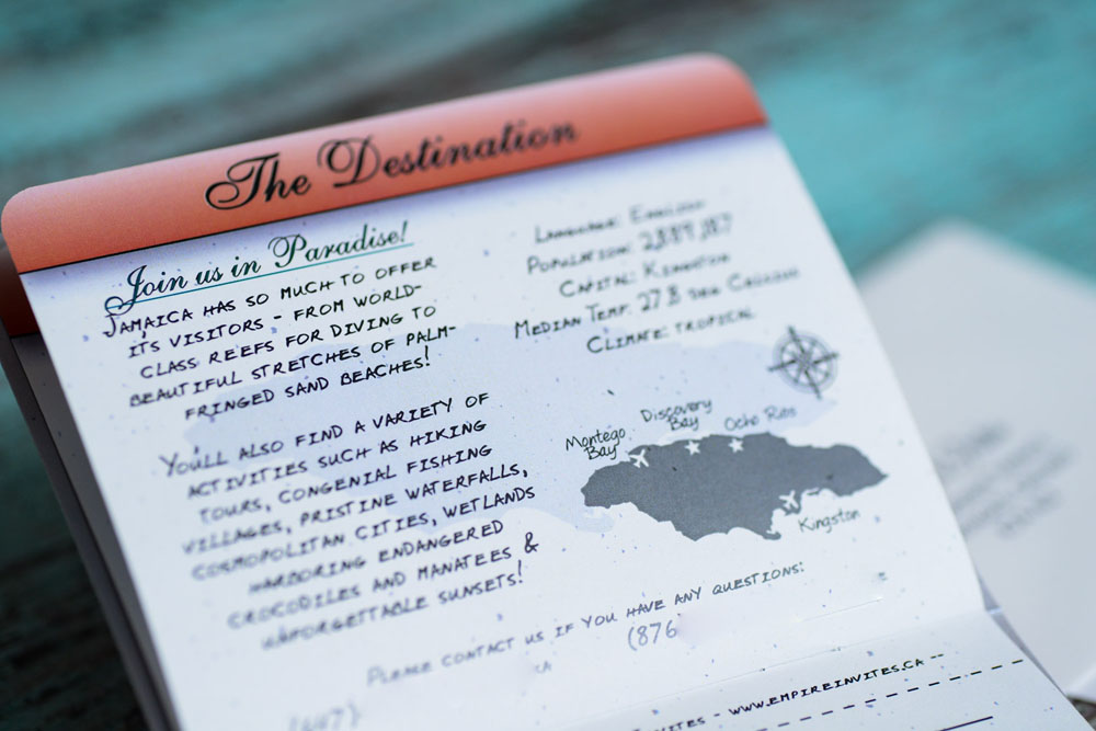 red passport wedding invitations to discovery bay  jamaica