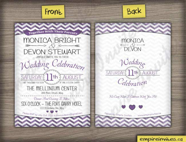 Wedding Invitations In Canada: Custom Rosedale Chevron Wedding Invitations Canada