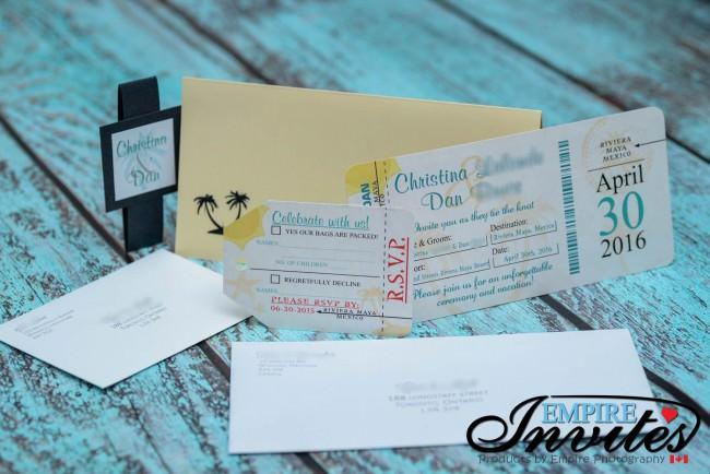 Sand Boarding pass wedding invites Sirenis Mexico (2)