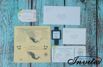 Sand Boarding pass wedding invites to Sirenis Mexico