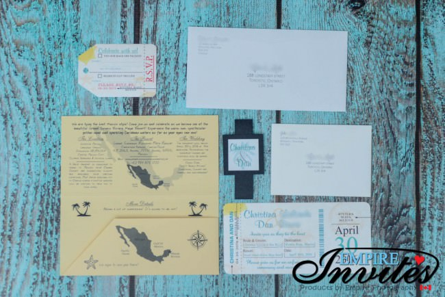 Fully Assembled boarding pass invites to Sirenis Mexico