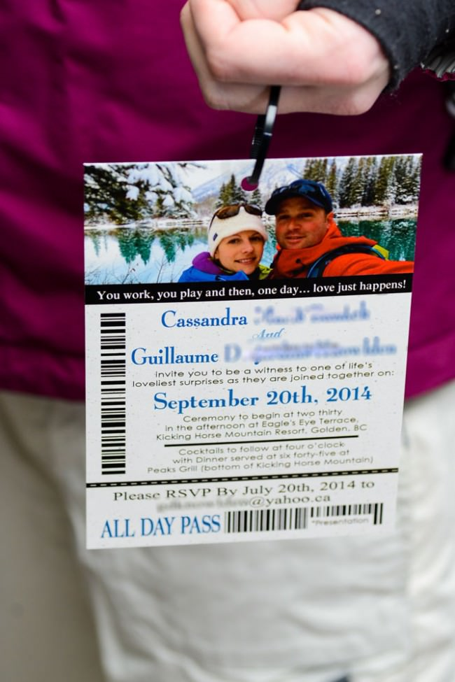 Lift Ticket Wedding Invitations To Kicking Horse In Golden BC