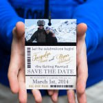 ski pass save the date cards