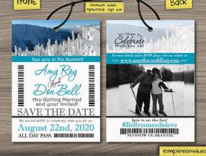 Ski Pass / Lift Ticket Save The Date Wedding Passes
