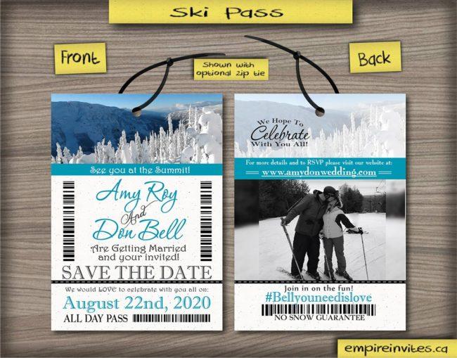 ski pass / lift ticket STD save the date passes snowboard pass