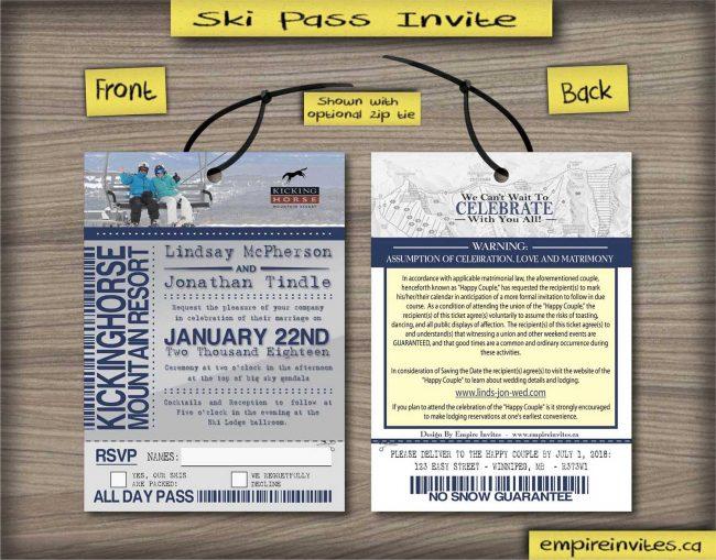 ski pass / lift ticket invitations snowboard pass
