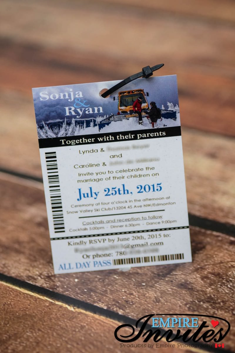 Custom ski pass wedding invitations From Winnipeg, Canada ...