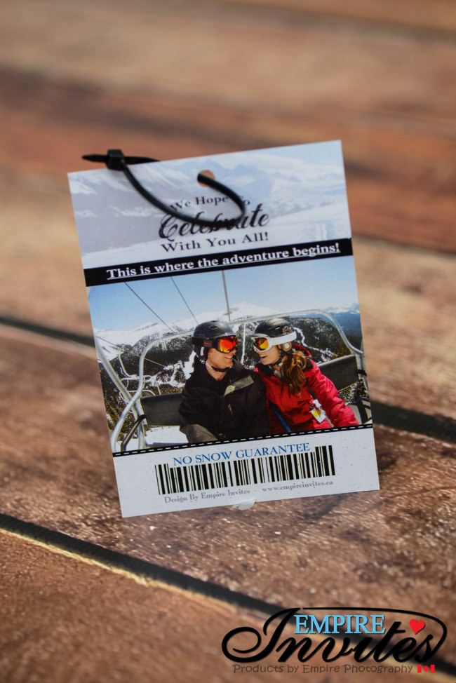 Ski pass wedding invitations to snow valley ski club, Edmonton ...