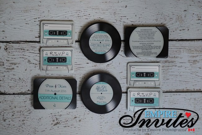 Teal Acoustical Record wedding invitations (1)