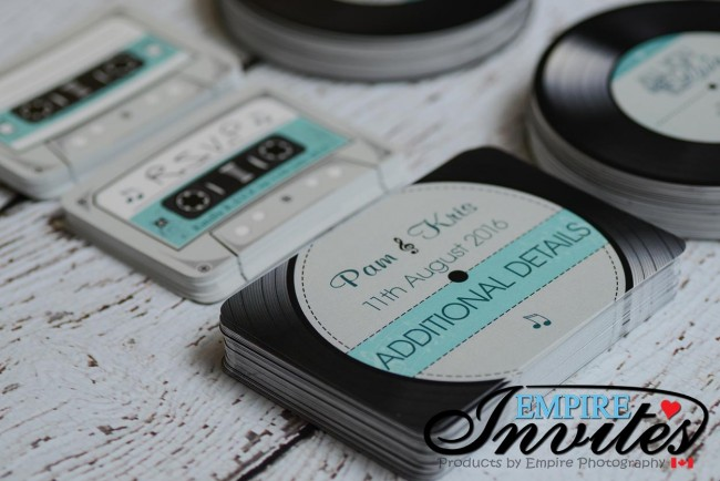 Teal Acoustical Record wedding invitations (2)