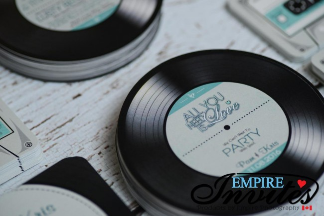 Teal Acoustical Record wedding invitations (5)