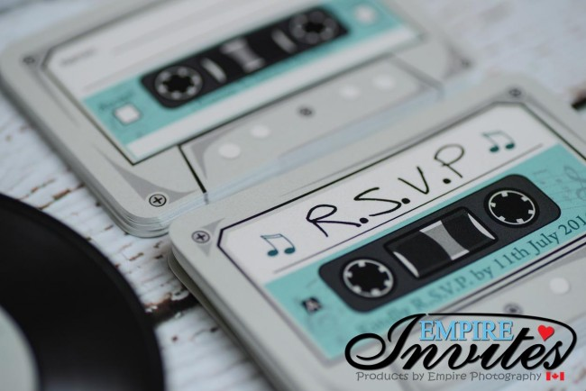 Teal Acoustical Record wedding invitations (6)