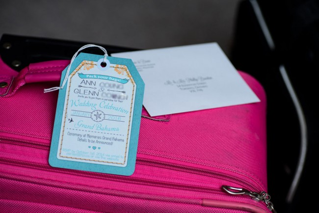 luggage tag invite with printed envelope