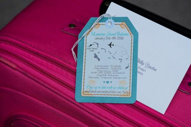 Teal Luggage Tag Wedding Invitation Memories Grand Bahama (3)