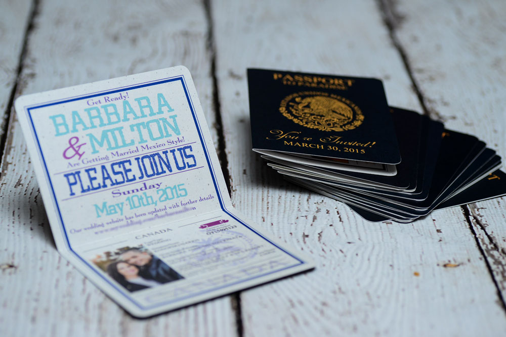 Teal passport wedding save the date cards to Moon Palace Resort ...