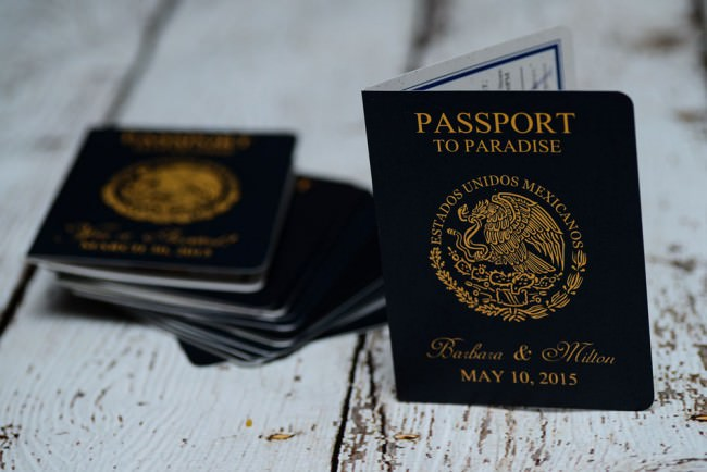 top view passport save the date cards
