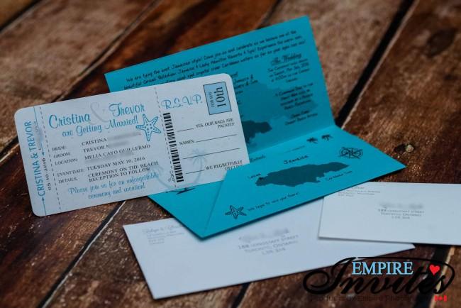 Teal destination wedding invitation package