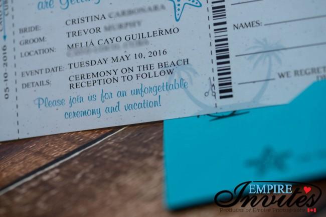 Teal boarding pass wedding invtiations Melia Cayo Guillermo jamaica  (2)