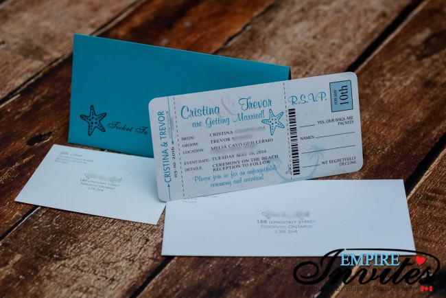 Teal boarding pass wedding invtiations Melia Cayo Guillermo jamaica  (3)
