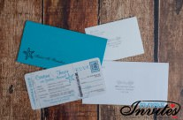 Teal boarding pass wedding invitations to Melia Cayo Guillermo jamaica
