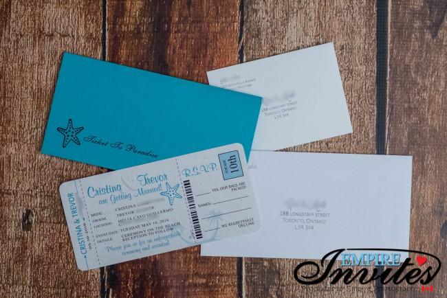 Teal boarding pass wedding invtiations Melia Cayo Guillermo jamaica  (4)