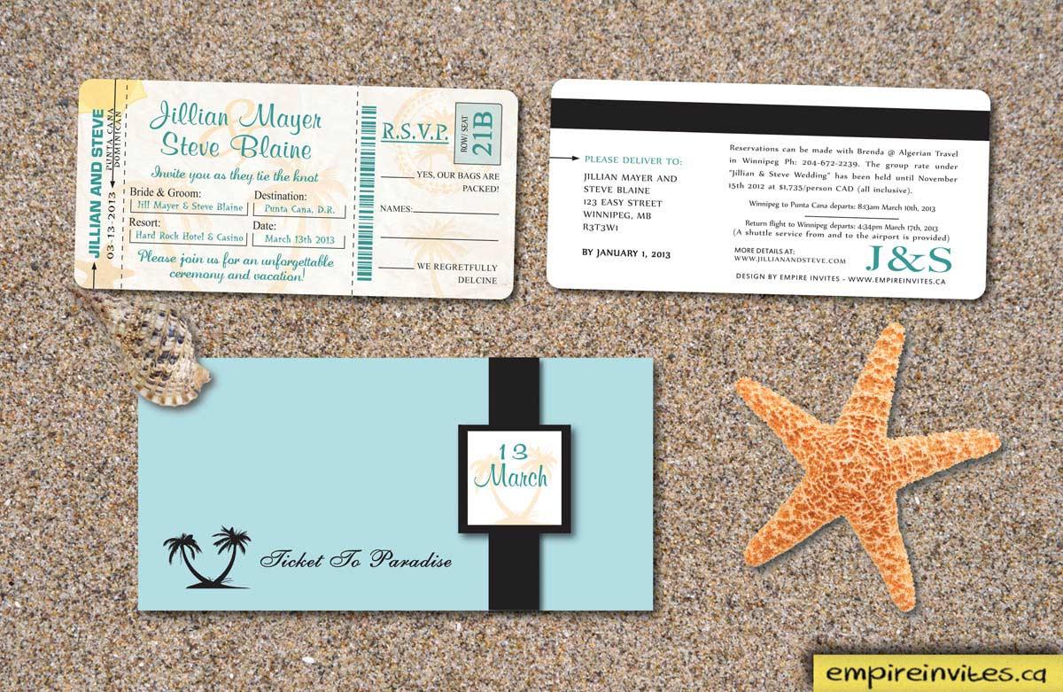 Canadian Wedding Invitations: Custom Destination Boarding Pass Wedding Invitations From