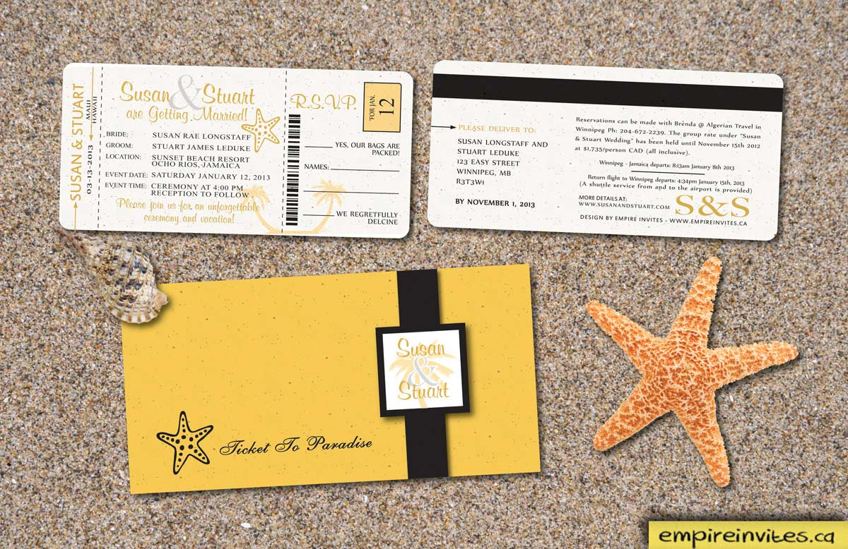 Custom Destination Boarding Pass Wedding Invitations From Winnipeg Canada