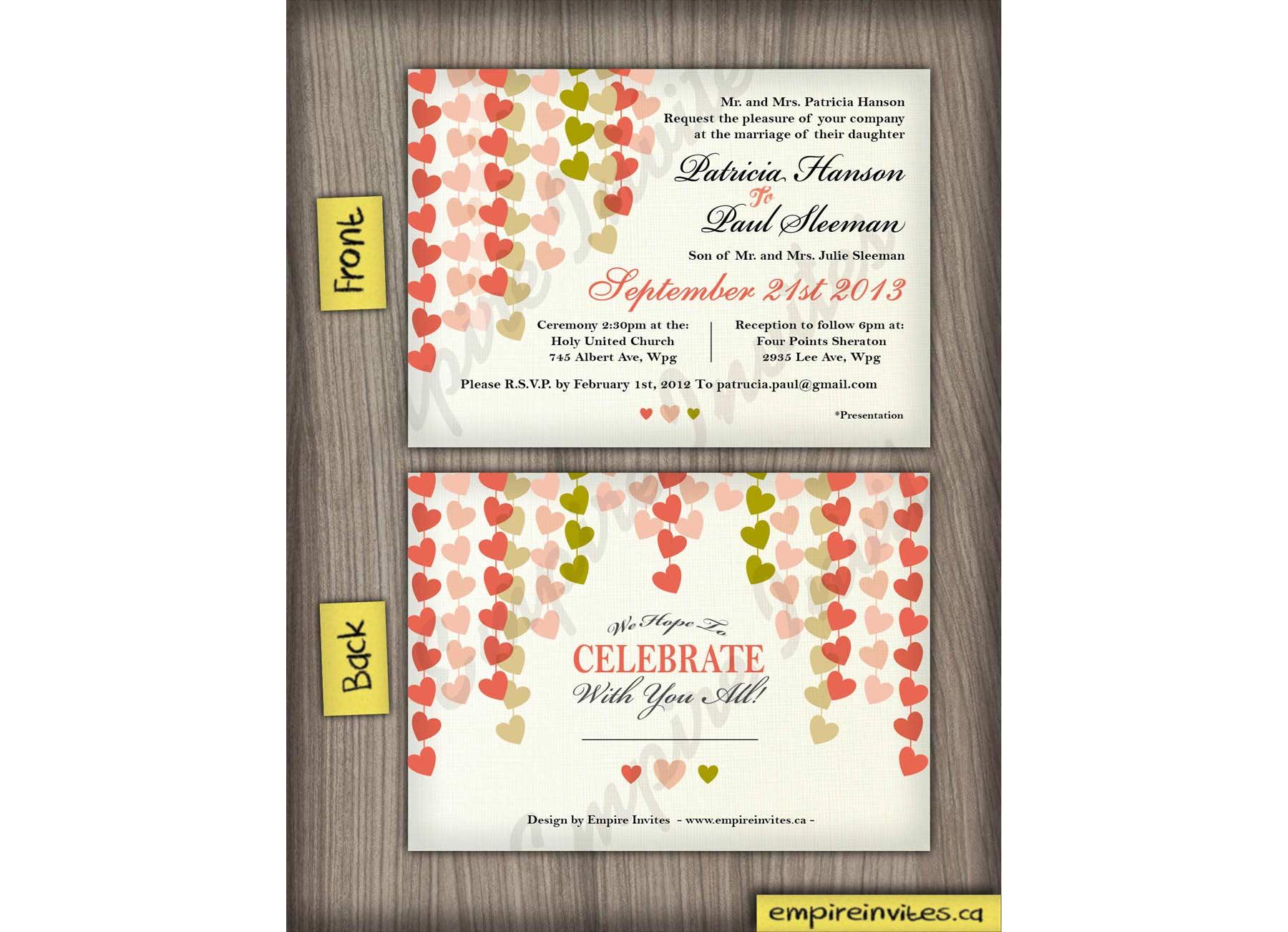 Wedding Invitations In Canada: Custom Heart Wedding Invitations From Winnipeg, Canada