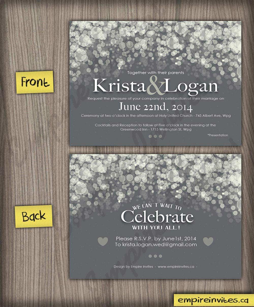Custom Champagne bubble Wedding Invitations From Winnipeg, Canada ...