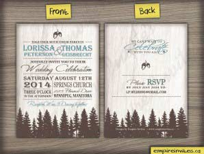Rustic fir tree Wedding Invitation (#37)