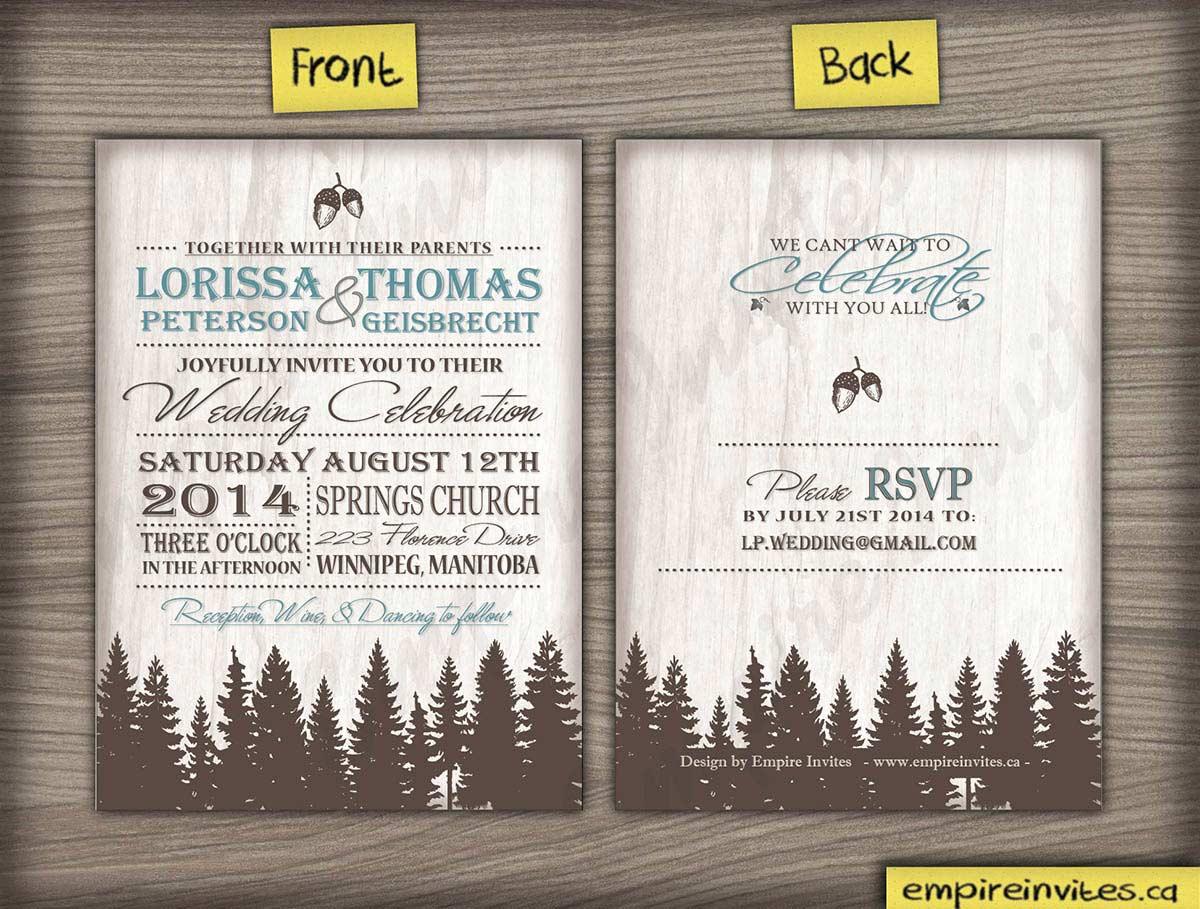 Wedding Invite 37 fir trees | ---- EMPIRE INVITES ---- Winnipeg ...