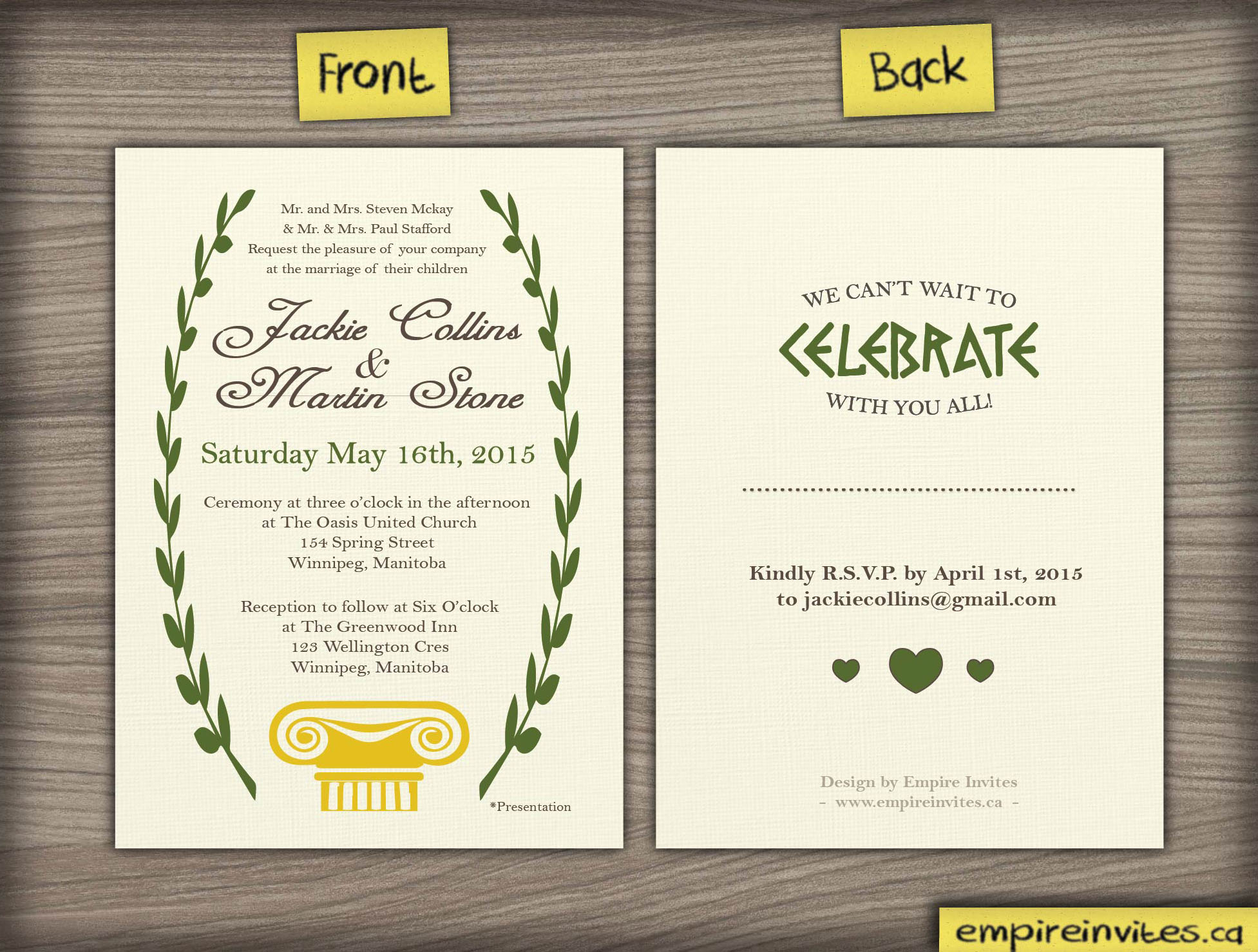 Custom greek style wedding invitation From Winnipeg ...
