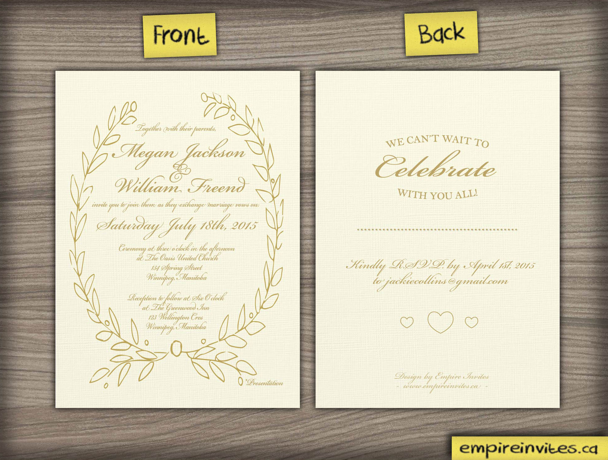 Custom greek style wedding invitation Canada Empire Invites