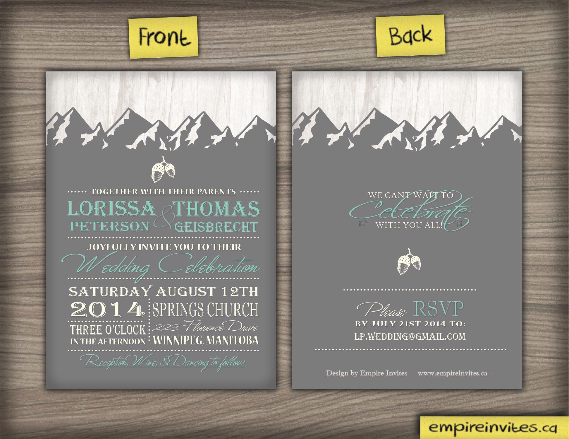 Cheap Online mountain range wedding invitation From Canada | Empire Invites,  Winnipeg