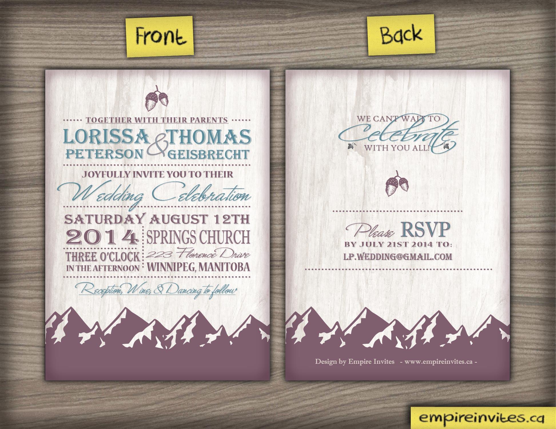 Diy Wedding Invitations Canada: Custom Mountain Range Wedding Invitation Canada