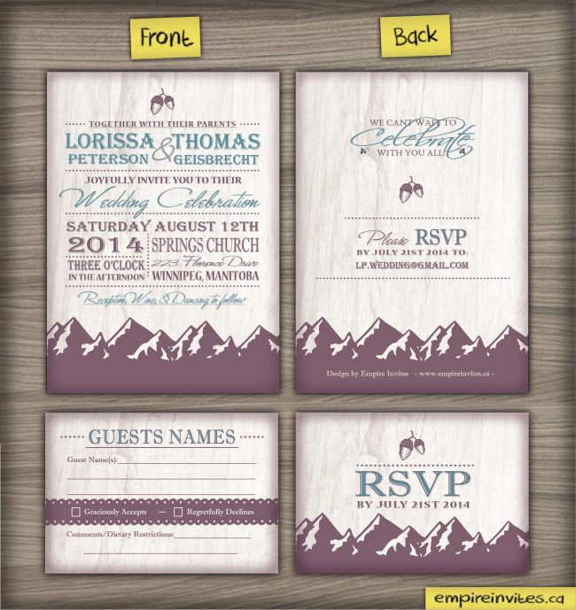 rustic fir tree wedding invitation