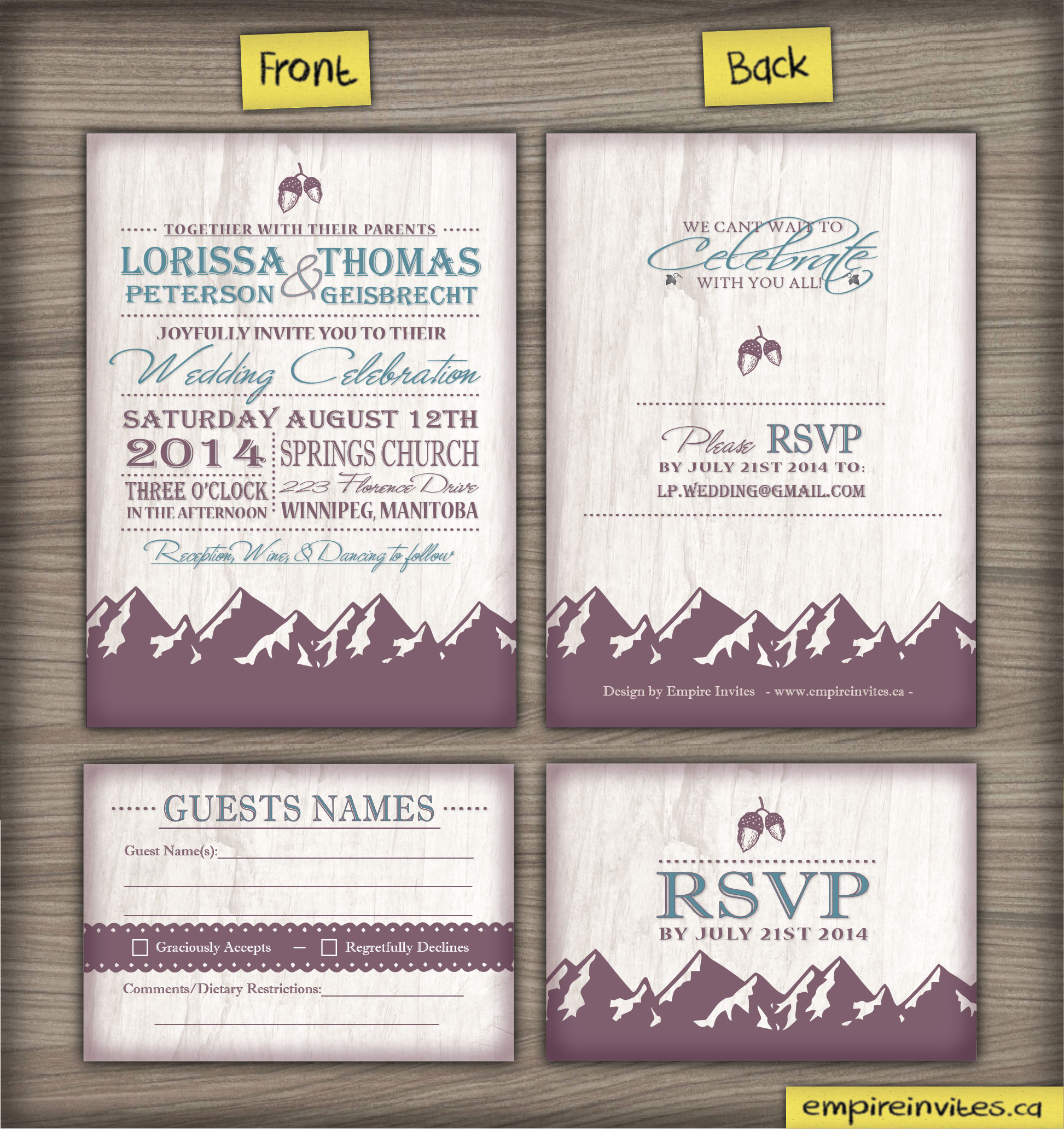 Wedding Invite 42 Mountain range_Proof-02 | ---- EMPIRE INVITES ...