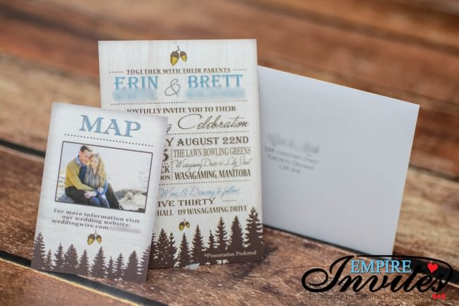 invite map card and printed envelopes