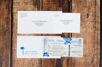 Blue boarding pass wedding invitations to Bahia Del Sol, Costa Rica