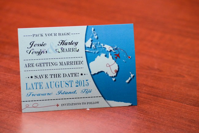 world map save the date front