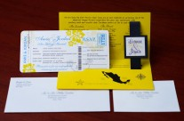 Yellow Boarding Pass Wedding Invitations to Dreams Resort, Mexico