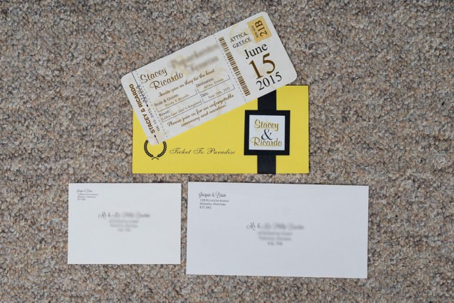 boarding pass ticket badge and envelopes