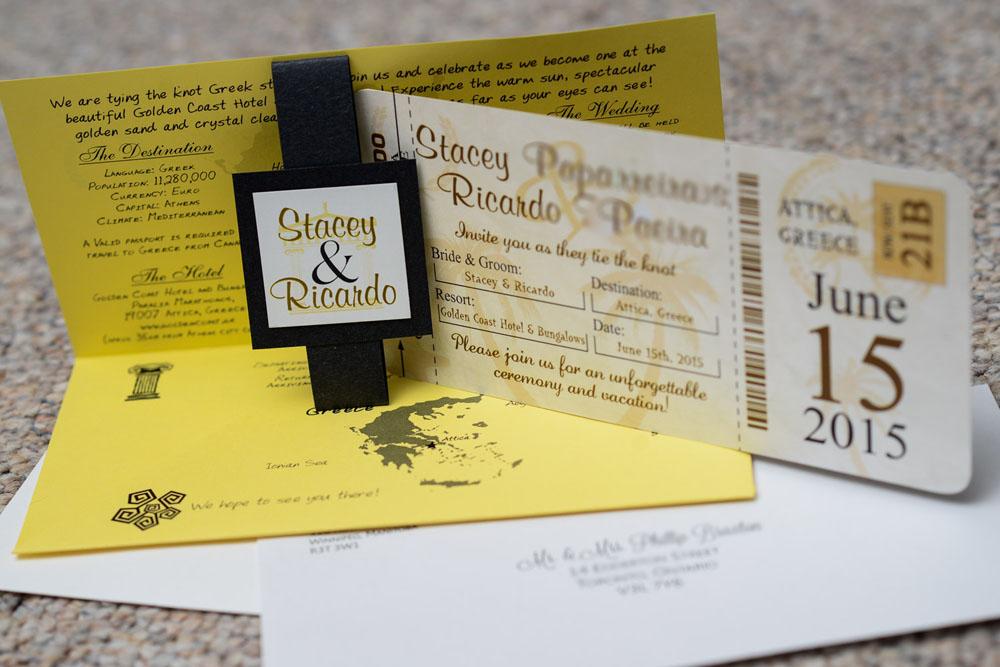 Brown Boarding Pass Wedding Invitations To Golden Coast In Attica