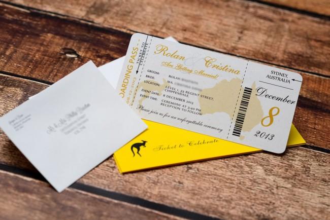 Yellow Boarding pass wedding inviation Austrailia (1)