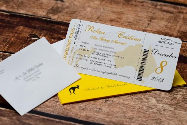 Yellow Boarding pass wedding inviation Austrailia (2)